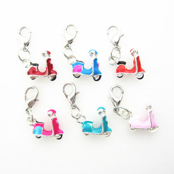 50pcs/lot Mix color motorcycle dangle charms floating charms hanging charms for DIY bracelet/necklace jewelry accessories