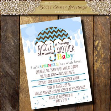 Printable BABY SPRINKLE Shower Invitation Boy Baby Shower invites Chevron Blue Brown Umbrella Raindrops any color Sip n See digital printed