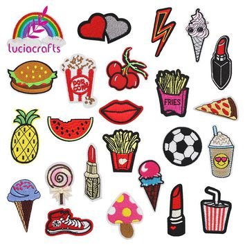 Lucia crafts 24pcs random styles embroidered fabric Iron-on or Sew-on cartoon sticker patches/badges for kids clothing D20010002