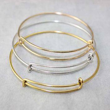 Cheap Promotional!!!10pcs/lot Silver Gold Tone Expandable Stainless Steel Wire Bangle Bracelet 6.5cm For Beading Or Charms
