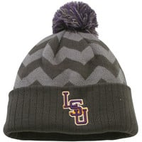 LSU Tigers Top of the World Women's Chevron Knit Hat – Gray