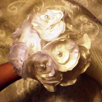Fabric Flower Wedding Bouquet, Bridal, Custom, Vintage, Ivory, White, Lace, Bridesmaids, Weddings, Rustic, Shabby Chic, Brown, Pearls,