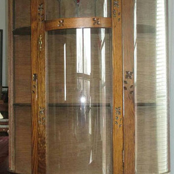 CLEARANCE Beautiful Antique Curio Cabinet With Faux Leaded Glass