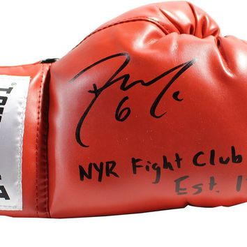 Dylan McIlrath Signed Red Boxing Glove w/ NYR Fight Club est 1926 Insc LE/100
