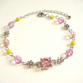 Pink and yellow bracelet with bijoux and silver plated flower beads, beaded bracelet, handmade jewelry, gift for her, gift under 10.