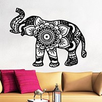 Wall Decal Elephant Vinyl Sticker Decals Lotus Indian Elephant Floral Patterns Mandala Tribal Buddha Ganesh Om Home Decor Art Bedroom Design Interior C246