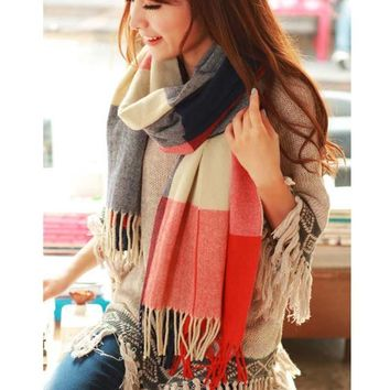 Female Wool Plaid Cashmere Scarf