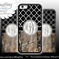 Monogram Iphone 5C case iPhone 5s  iPhone 4 case Ipod 4 5 Touch case Real Tree Camo Black Teal Quatrefoil Personalized Country Girl
