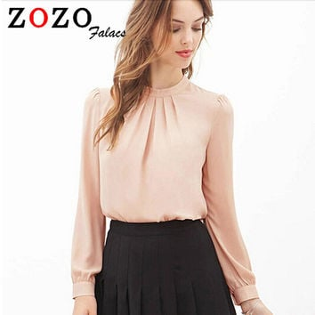 Falacs zozo 2016 Women Elegant Chiffon Blouses Sexy Blouse Shirt Casual Long Sleeve Shirt Ladies Work Office Shirt