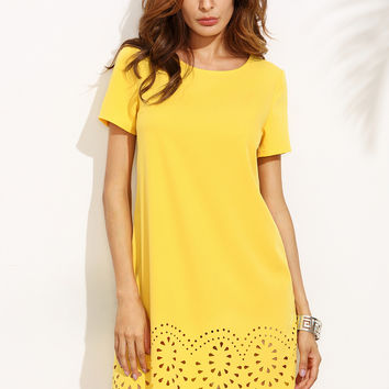 Yellow Short Sleeve Hollow Hem Shift Dress | MakeMeChic.COM