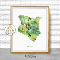 Kenya Art, Watercolor Map, Kenya Map Art, Office Wall Decor, Office Wall Art, Living Room Art, Map Decor, Map Wall Art Print Zone