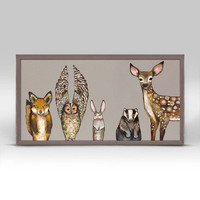 Forest Animals Giclee Canvas ~ Taupe