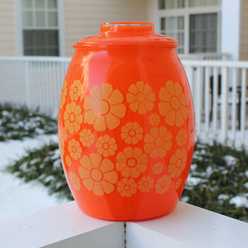 Vintage Bartlett Collins Orange Flower Cookie Jar