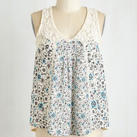 Boho Mid-length Sleeveless Perennial Pizzazz Top