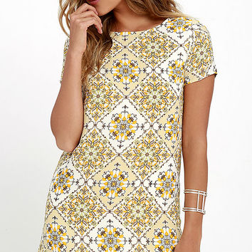 Dandy Lion Yellow Print Shift Dress