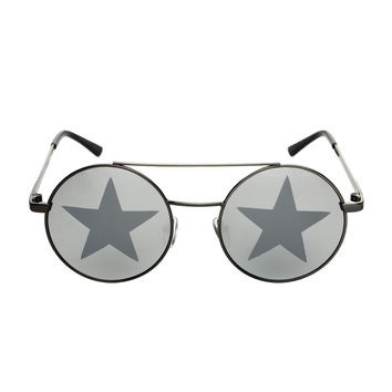 Star Mirror Lens Metal Top Bar Unisex Round Sunglasses R3050