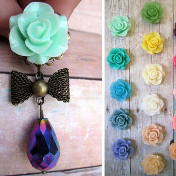 "Pair of Seafoam Flower and Rainbow AB Dangle Plugs with Bows - Girly Gauges 00g, 7/16"", 1/2"", 9/16"", 5/8"" (10mm, 11mm, 12mm, 14mm, 16mm)"