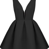 Sheinside® Women's Black V Neck Backless Midriff Flare Dress