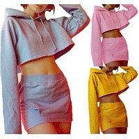 Women Fashion Casual Hoodie Crop Tops Pencil Long Sleeve Short Mini Dress Solid Pullover Autumn 2PCs