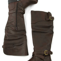 Double Buckle Boots in Brown