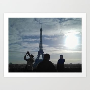 selfie Paris Eiffel tower black and white with color Art Print by Mr Splash
