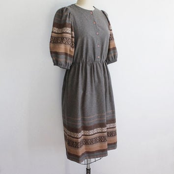 Vintage 60s Woven Textured Wool Dress with Blouson Sleeves | size 4 6