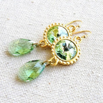 Bridal Earrings Swarovski Fresh Green Rivoli Gold Filled Dangle Earrings - Bella EGoldR2 - for Brides Bridesmaids Wedding Jewelry