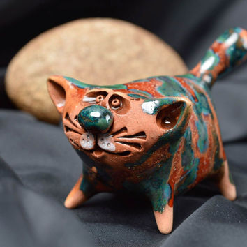 Handmade cat figurine ceramic figurines gifts for cat lovers homemade home decor