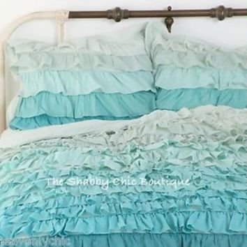 Shabby Beach Cottage Chic Ruffled Queen Duvet Doona Quilt Cover & Pillow Shams