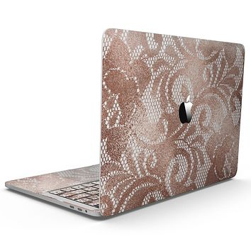 Rose Gold Lace Pattern 14 - MacBook Pro with Touch Bar Skin Kit