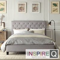Inspire Q Sophie Grey Linen Tufted Platform Bed