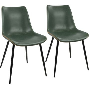 Durango Dining Chairs with Green Vintage PU Leather, Black (Set of 2)