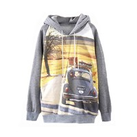 MapleClan Grey Hooded Long Sleeve Car Print Sweatshirt Pullover Hoodies