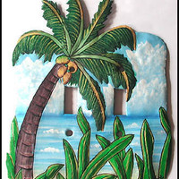 Light Switch Plate Cover - Tropical Coconut Tree - Hand Painted Metal - Handcrafted in Haiti from recycled steel oil drums - S-1047-2