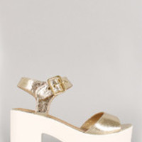 Women's Soda Metallic Ankle Strap Lug Sole Platform Heel