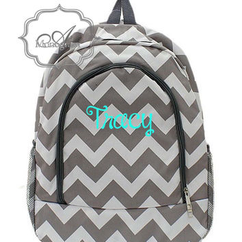 Monogrammed Grey Chevron Backpack