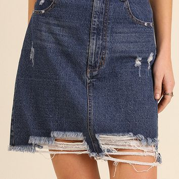 Distressed Dark Denim Skirt