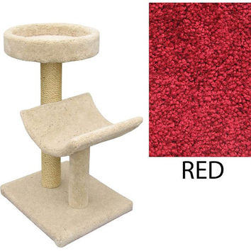 "Two  Level Cat House -Cradle & Perch - Red (Red) (37""H x 26""W x 20""D)"