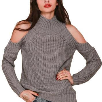 Womens Shoulder Cut Out Sweater