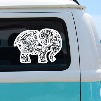 Elephant Zentangle Vinyl Window Decal - Car Sticker - Car Decal