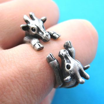 Double Giraffe Animal Wrap Around Ring in Silver - Sizes 5 to 9 Available