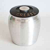 1950's Kromex Aluminum Grease Canister, Spun Aluminum, Black Lid, Grease Container Jar, Vintage Kitchen