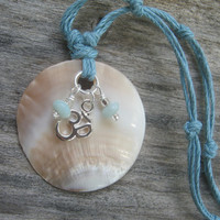 Aqua Blue Om Mother of Pearl Boho Necklace with Amazonite, Bohemian Style
