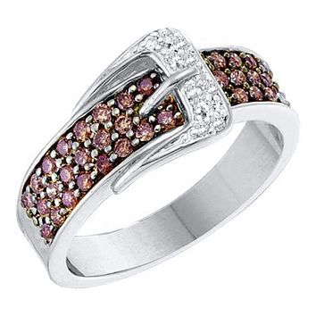 14kt White Gold Women's Round Cognac-brown Color Enhanced Diamond Belt Buckle Band Ring 1/2 Cttw - FREE Shipping (US/CAN)