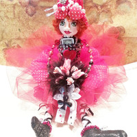 OOAK Wedding Red Art Doll Cloth Jewelry Gift  LUCKY LUCY