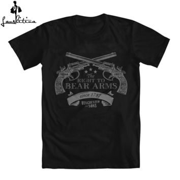 "Men T-shirt Casual T-Shirt Funny T Shirt Supernatural Winchester & Sons ""Right to Bear Arms"""