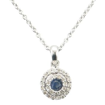 Bezel set Sapphire necklace with Diamond double halo