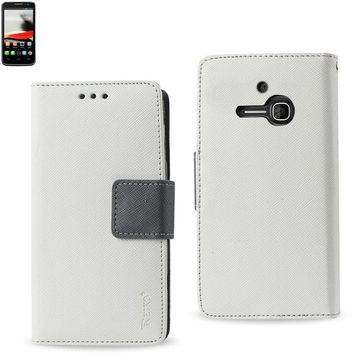 New Wallet Case In White For Alcatel One Touch Evolve 3-In-1