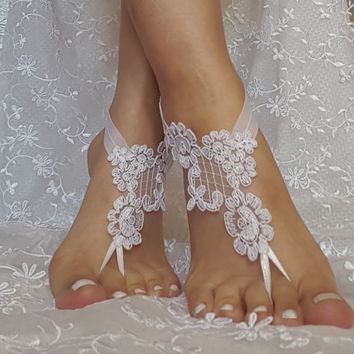 Free ship white Beach wedding barefoot sandals wedding shoe prom party bridal barefoot sandals beach anklets, bridal accessories