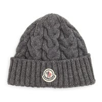Cashmere Cable-Knit Hat, Gray, GRAY - Moncler